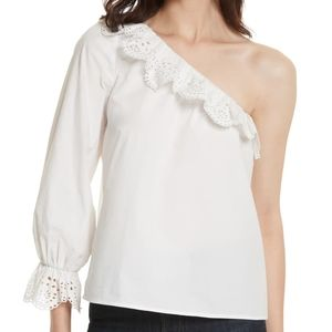 Joie Arianthe One Shoulder Eyelet Lace Top